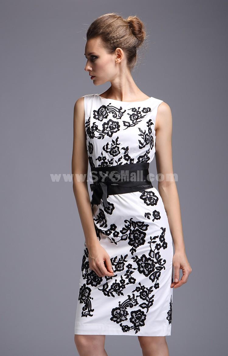 Vintage Style Flower Printing Slim Dress Evening Dress CT107