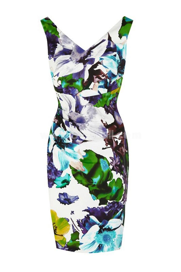 Coast New Arrival Flower Printing V-neck Lady Dress Evening Dress