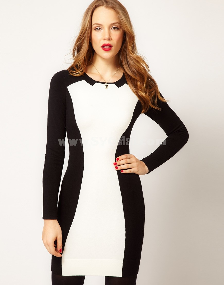 KM New Arrival Corlor Contrast Knitted Slim Dress Evening Dress