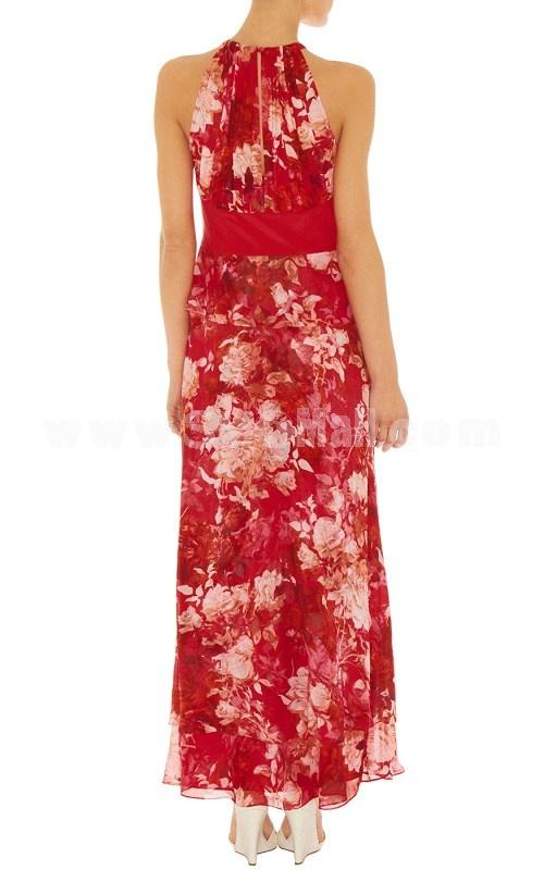 KM New Arrival Red Flower Pattern Elegant Sleeveless Long Dress Evening Dress