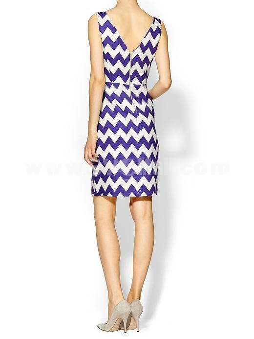 KM New Arrival Wave Stripes Pattern Sleeveless Slim Dress Evening Dress KA857