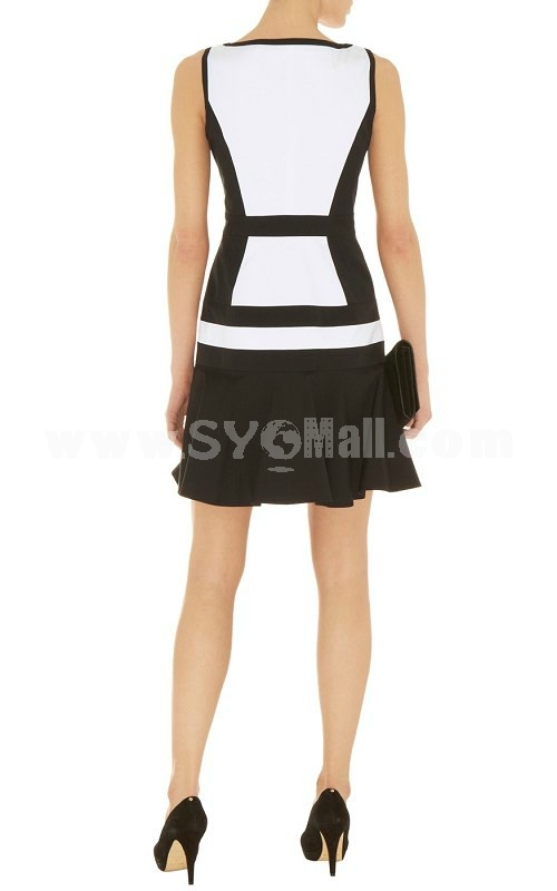 New Arrival Fashion Color Contrast Square-cut Collar Dress Evening Dress DQ168