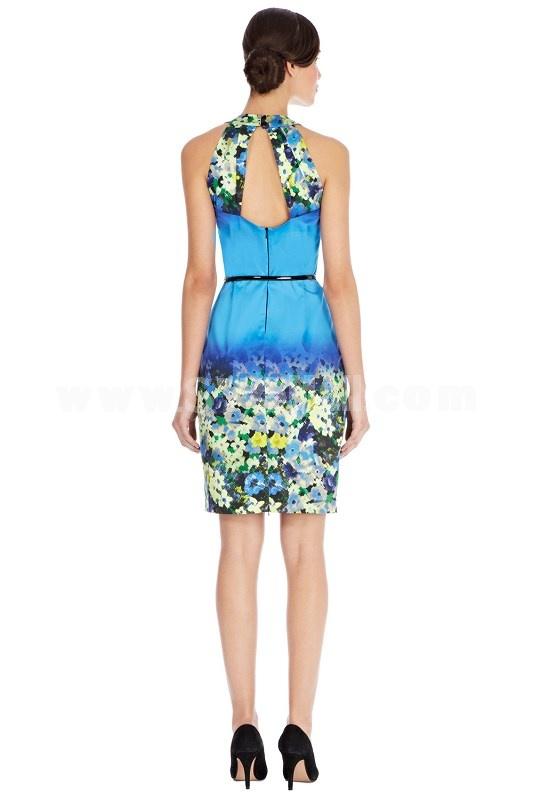 Coast New Arrival Blue Color Gradual Change Halter Dress Evening Dress