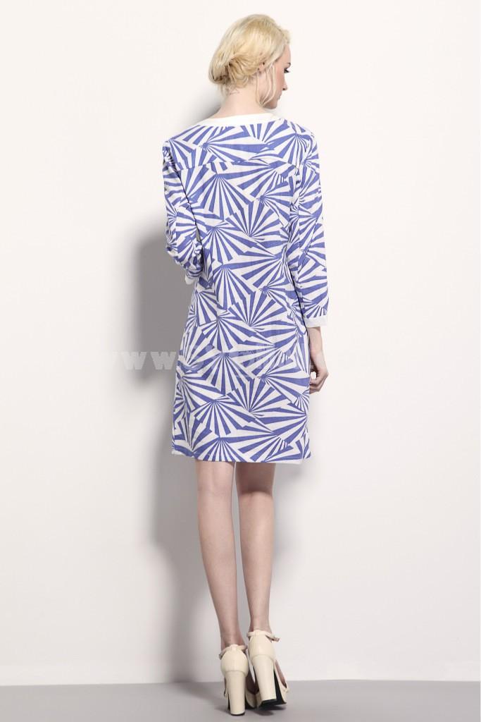 New Arrival Ninth Sleeve Geometric Figures Printing Dress Evening Dress