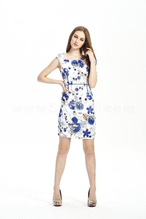 New Arrival Simple Printing Slim Dress Evening Dress KC049