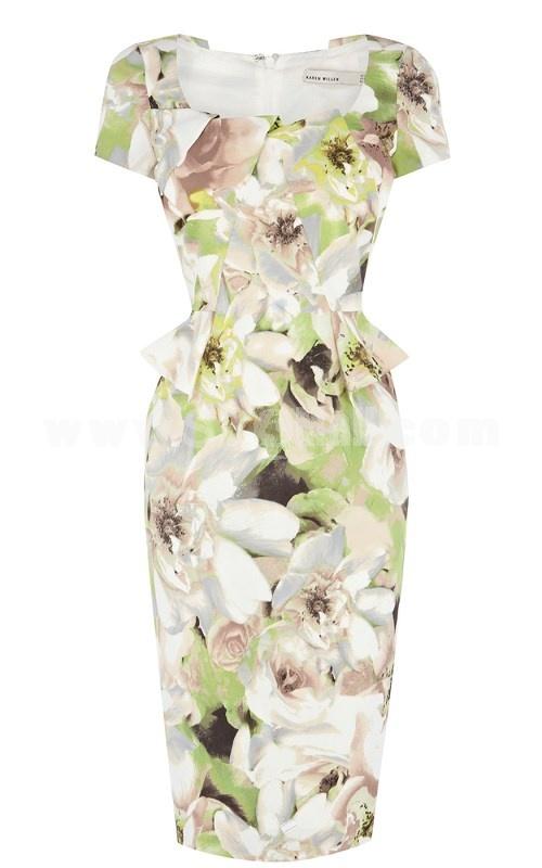 New Arrival Vintage Printing High Rise Falbala Slim Dress Evening Dress DQ153