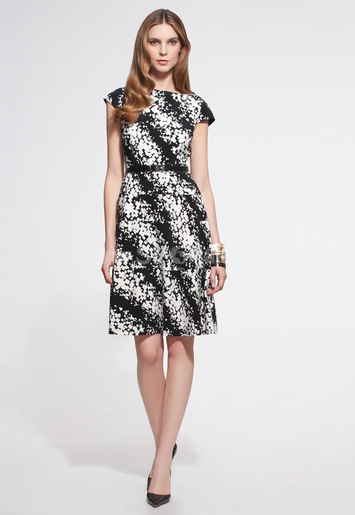 New Arrival Black and White Printing Full-skirted Dress Evening Dress