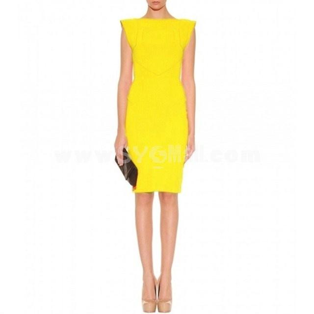 KM Round Neck Short Sleeve Solid Color Dress Evening Dress