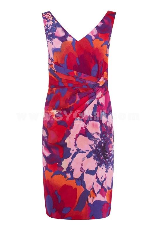 COAST New Arrival Corful Printing Slim Dress Evening Dress CT0698