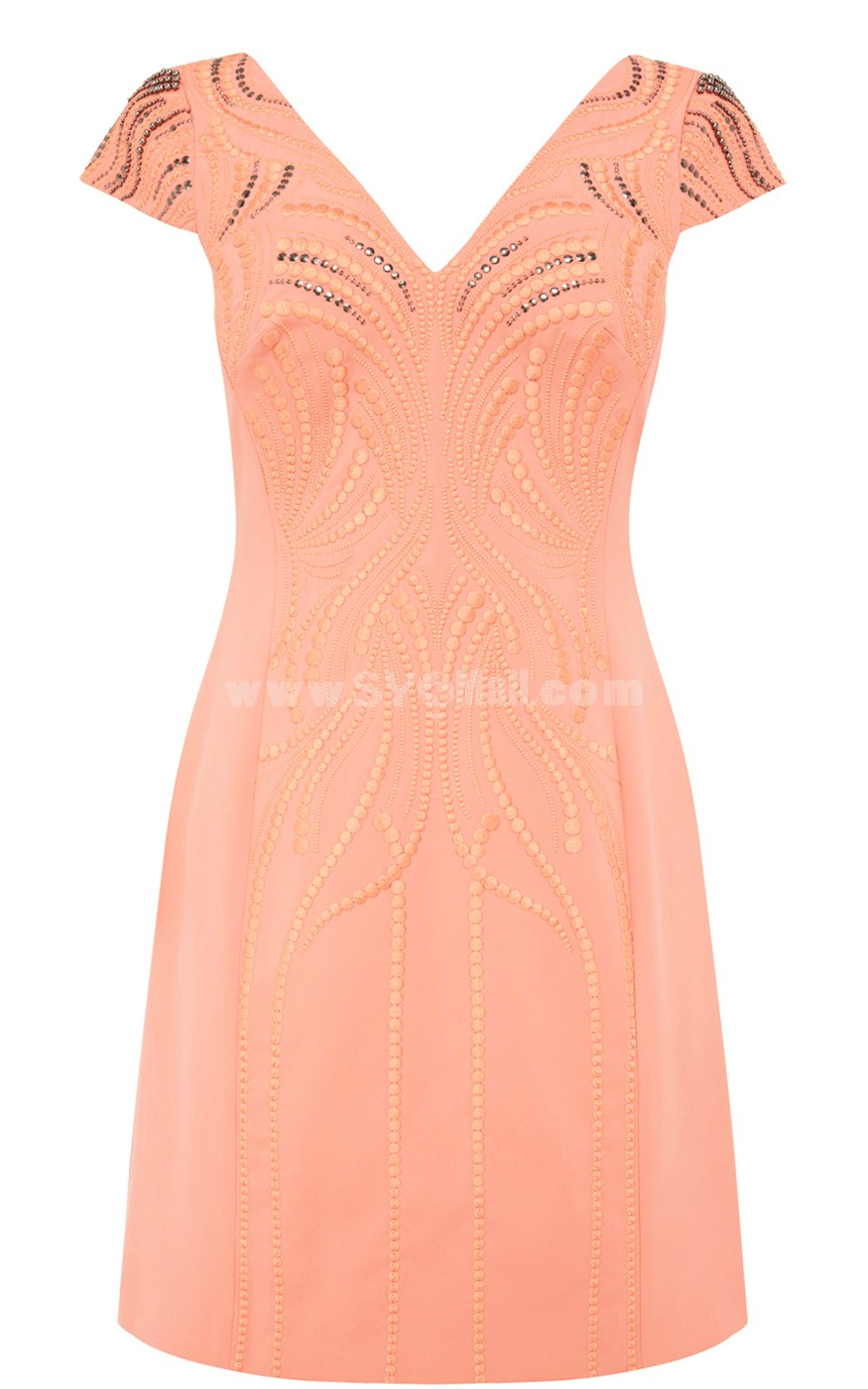COAST New Arrival Pink Beads Decoration Lady Dress Evening Dress DQ102
