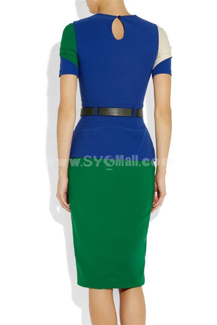 OL Style Color Contrast Slim Dress Evening Dress
