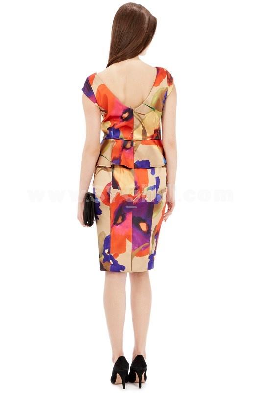 AS Falbala Back V-neck Printing Slim Dress Evening Dress