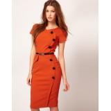 Wholesale - KM  Unique Design Solid Color Short Sleeve Slim Dress Evening Dress 7348
