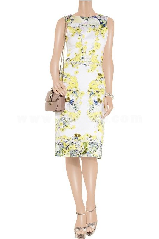 New Arrival Elegant Yellow Flower Printing Slim Dress Evening Dress KC094