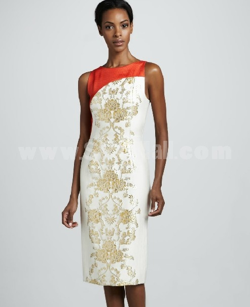 AK Elegant Embroidery Printing Sleeveless Dress Evening Dress AK2271