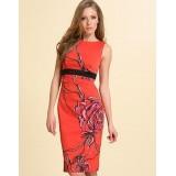 Wholesale - KM Rose Printing Sleeveless Dress Evening Dress DG032