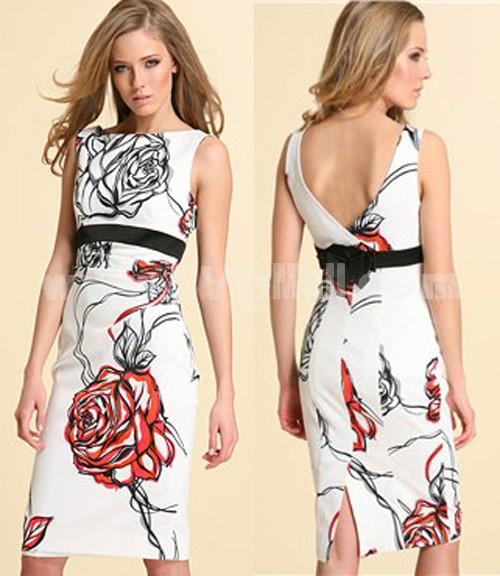 KM Rose Printing Sleeveless Dress Evening Dress DG032