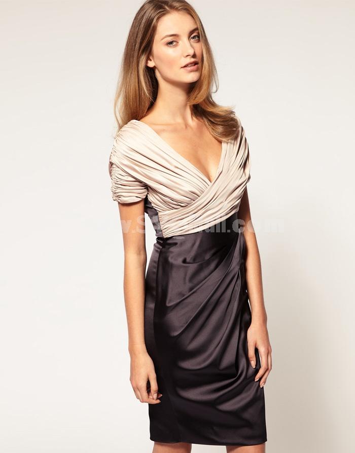 KM Sexy Deep V-neck Wrinkles Slim Dress Evening Dress DL244