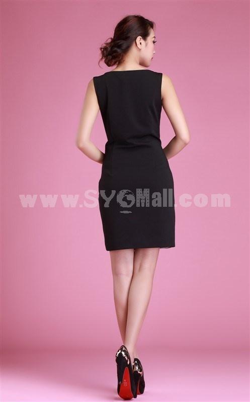 AS New Arrival OL Style Houndstooth Sleeveless Slim Dress Evening Dress KC093