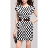 Wholesale - AS  Chessboard Pattern Short Sleeve Slim Dress Evening Dress KC088