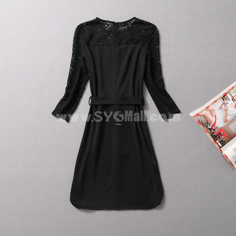 New Arrival Sexy Lace Long Sleeve Dress Evening Dress