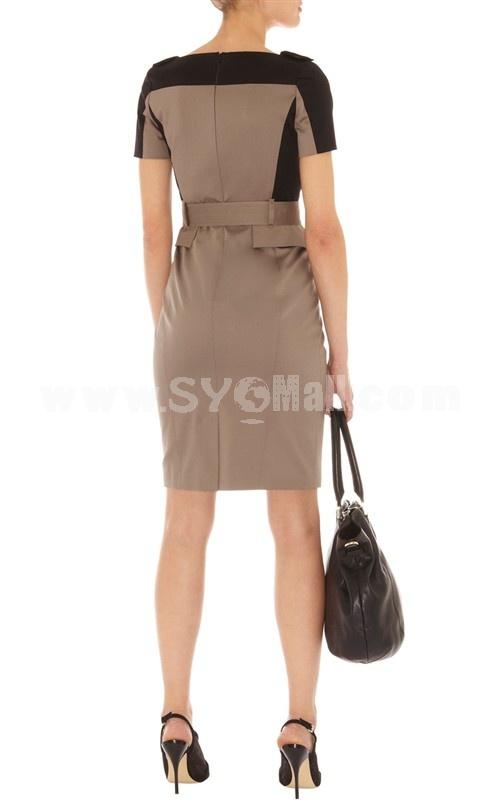 New Arrival Vintage London Style V-neck Color Contrast Dress Evening Dress DQ226