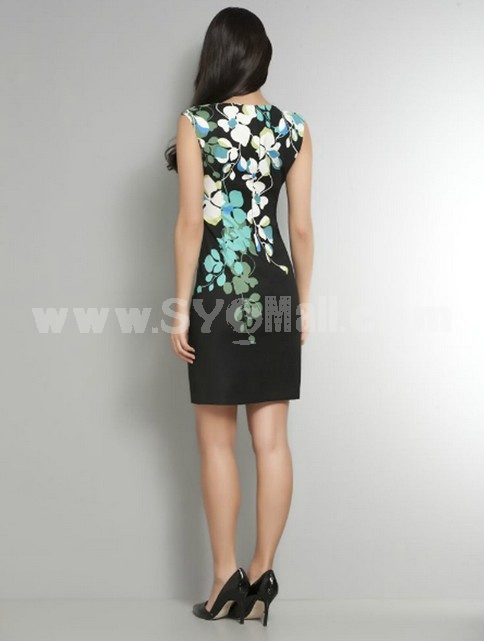 New Arrival Flower Printing Round Neck Slim Dress Evening Dress