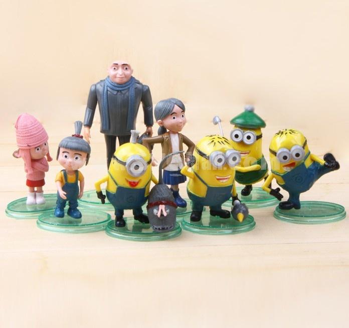 8pcs/Lot Despicable Me 2 The Minions Garage Kits Model Toys