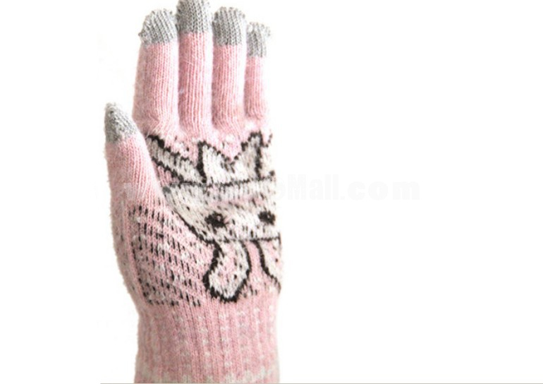 Cute rabbit knitted smart gloves for touchscreen