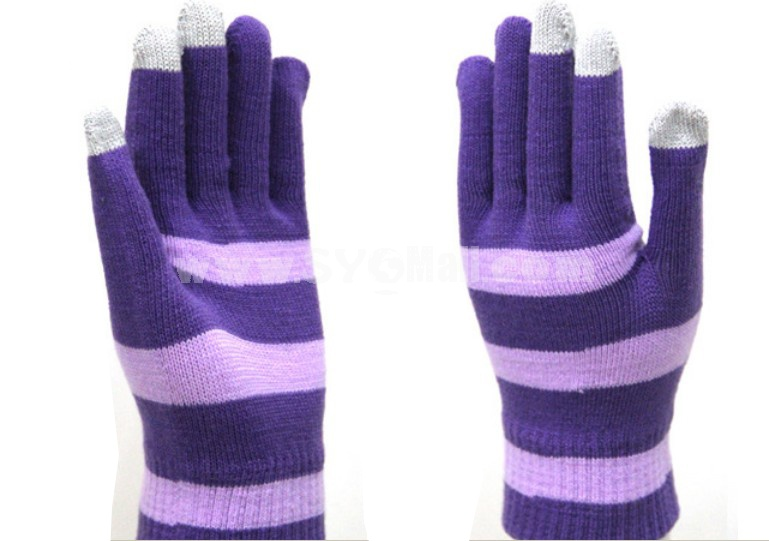 Strips warm knitted touchscreen gloves