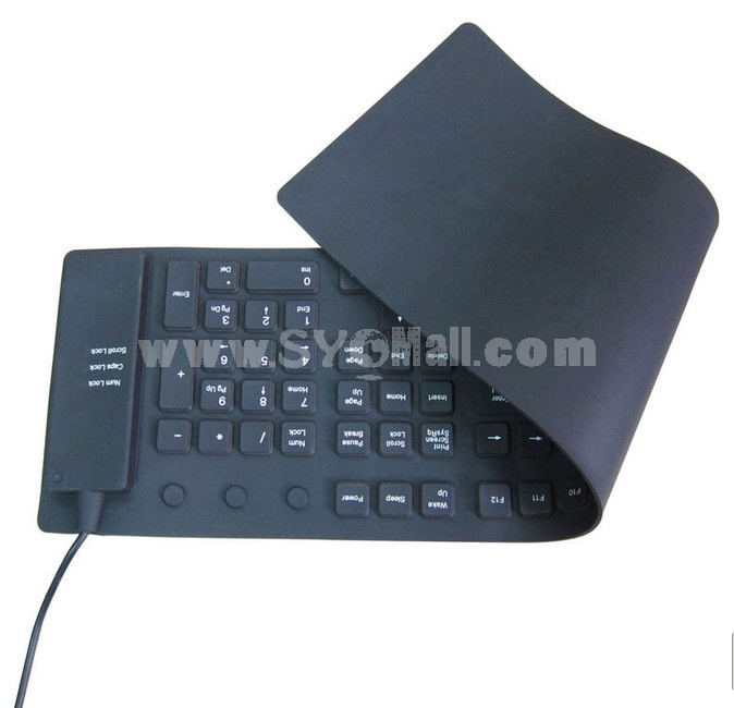 Black color Waterproof Silicone Wired Keyboard