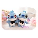 Wholesale - 2pcs/Kit Stitch with Bow Tie Plush Toy Couple Key Chian Cellphone Charm