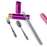 Wholesale - Portable Stainless Steel Tableware Set Fork Spoon and Chopsticks Set