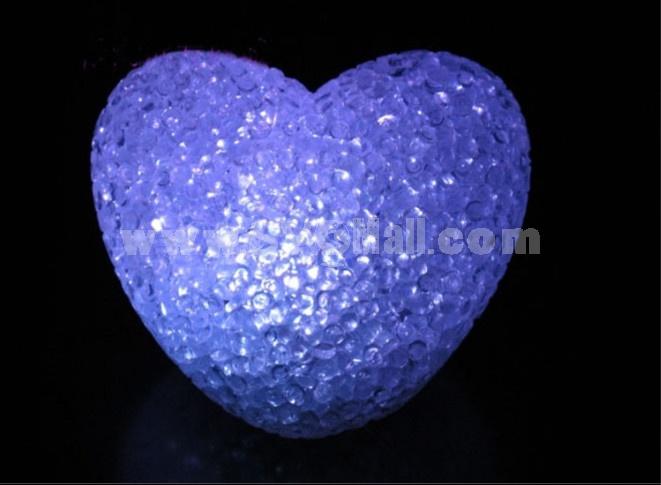Cute heart shaped crystal night light