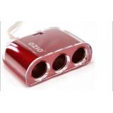 Wholesale - OZIO 3-Way Socket Car Cigarette Lighter Splitter with Adapter 12V 24V + 2.1A, Red