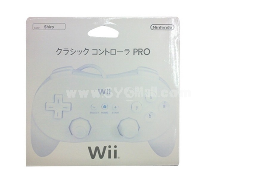 Classic Controller Pro Gamepad White for Wii Remote