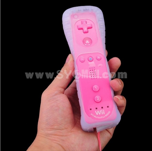 Motionplus Remote Control with Silicone Case for Nintendo wii Pink