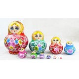 Wholesale - 10pcs Handmade Wooden Russian Nesting Doll Toy Colorful Girl