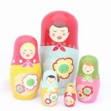 wholesale - 5pcs Russian Nesting Doll Handmade Wooden Cute & Novel Cartoon Color Girls