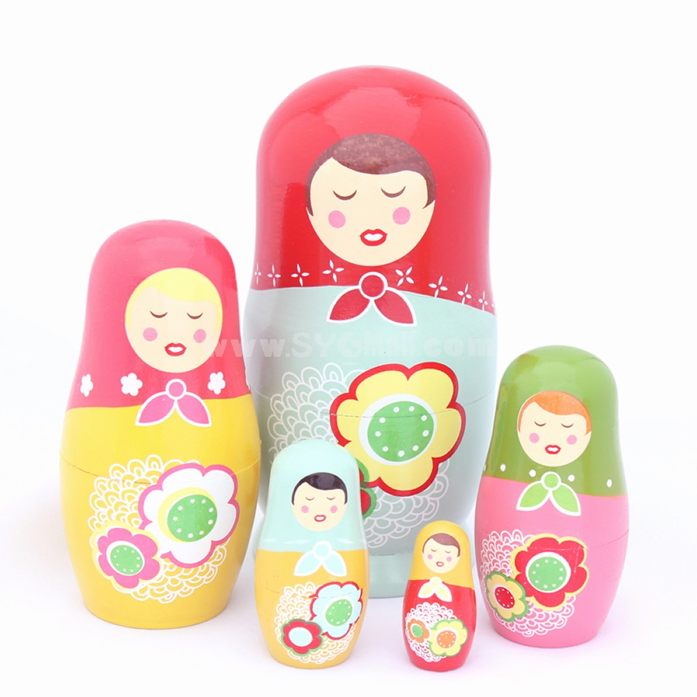 5pcs Russian Nesting Doll Handmade Wooden Cute Cartoon Yellow Girl Pattern