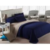 Wholesale - LLANCL Pure Color 4 Pieces Duvet Cover Set Bedding Set -- Khaki/Blue