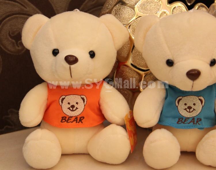 "Teddy Bear with Vest Plush Toy 18cm/7"" 3PCs"