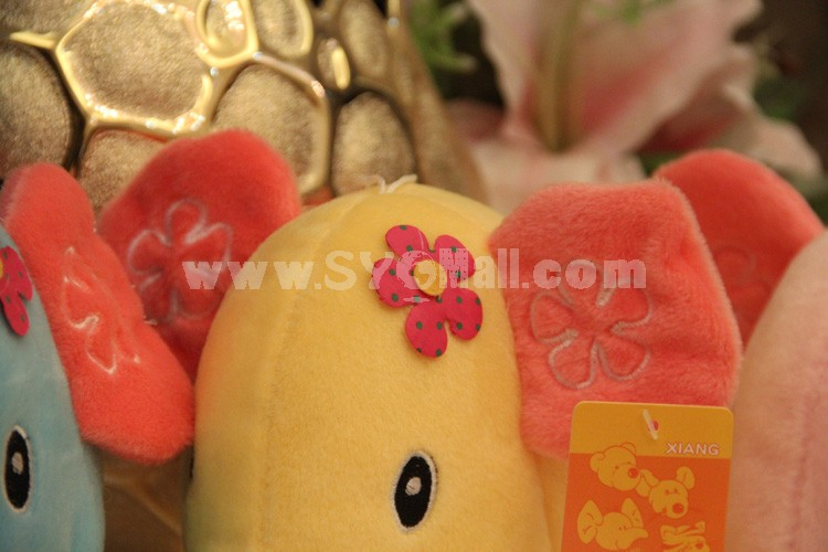 "Lovely Elephant with Flower Plush Toy 18cm/7"" 2PCs"