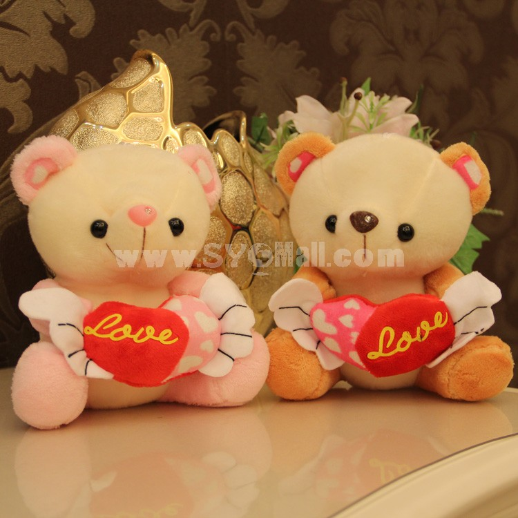 "Angel Bear with Loving-heart Plush Toy 18cm/7"" 2PCs"