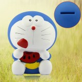 wholesale - Watermelon Doraemon Piggy Bank Money Box PVC Figure Toy Large Size 21cm/8""
