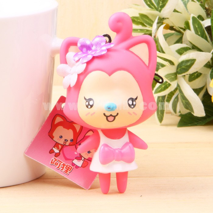 Strawberry  Ali Fox Vinyl Figure Toy Cellphone Pendant Bag Pendant 2 Pcs/Lot