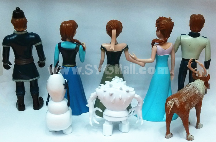 Frozen Elsa Anna and Olaf Garage Kits PVC Toys MFigure Toys 2.7-4.7inch 8pcs/Lot
