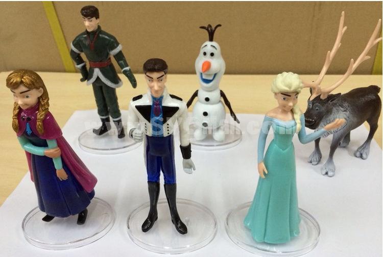 Frozen Elsa Anna and Olaf Garage Kits PVC Toys MFigure Toys 5-6inch 6pcs/Lot