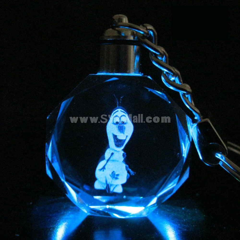 Frozen Princess Colorful Crystal Pendant Key Chain Cellphone Pendant -- Olaf 2