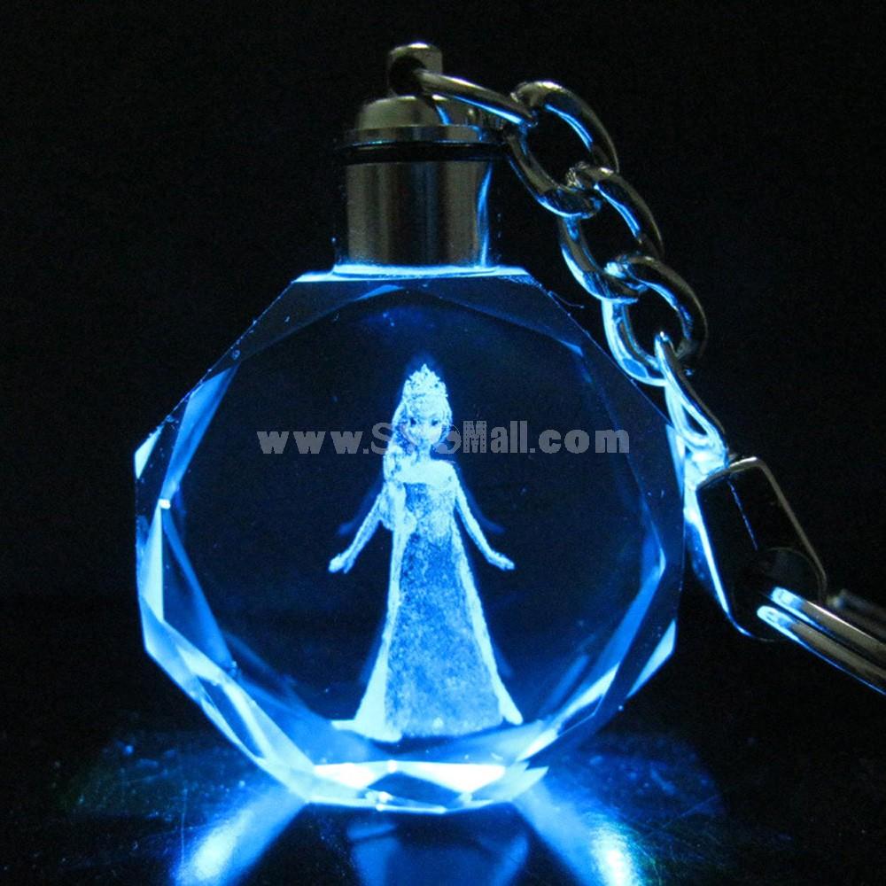 Frozen Princess Colorful Crystal Pendant Key Chain Cellphone Pendant -- Elsa